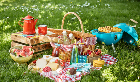 Colourful summer BBQ picnic outdoors in a meadow with corn grilling on the fire, cheese platter, soft drinks, fresh fruit and bright red coffee pot on a checked cloth