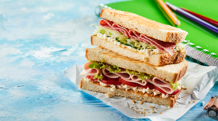 Mid-morning fresh double sandwich with ham, lettuce against notebook at desk