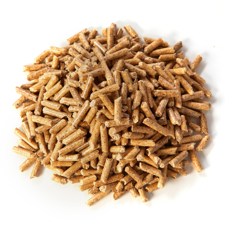 Pile of organic compressed sawdust wood pellets viewed high angle on white in square format Foto de archivo - 108102447