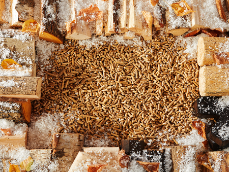 Border made of timber logs covered with light snow and leaves surrounding large pile of small pegs in center Stockfoto