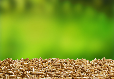 Heap of organic wood pellets over a blurred fresh green outdoor background with copy space for renewable energy and biofuel Stock Photo