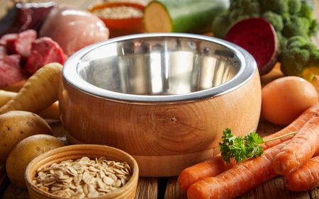Empty stainless steel dog bowl surrounded by fresh ingredients including grains, vegetables and diced raw meat for a healthy animal diet