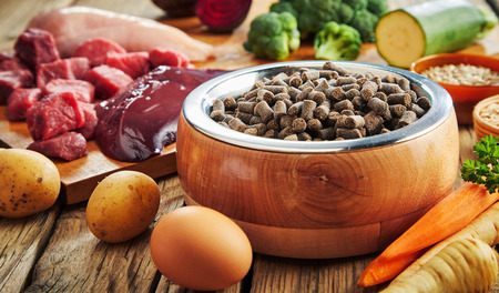 Bowl of dried pet kibble with fresh ingredients for a healthy diet including eggs, vegetables, chopped raw meat, offal and grains