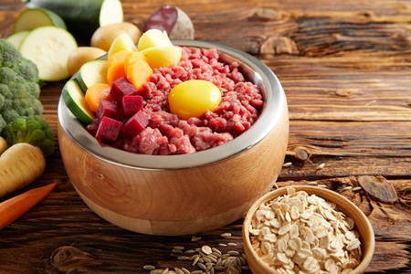 Wholesome meal for a pet dog with diced raw meat, fresh vegetables and an egg yolk with ingredients and cereal alongside on an old rustic wooden floor