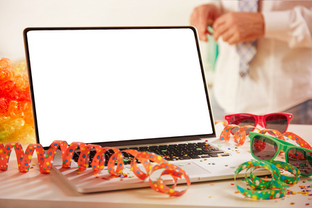 Carnival at the office with an open empty notebook with copy space for creative ideas or advertising backgrounds