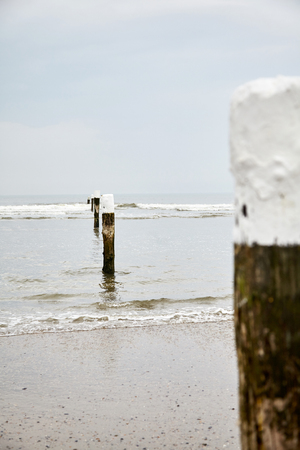 Row of old vertical wooden beach poles with tops painted white on the sandy coastal line