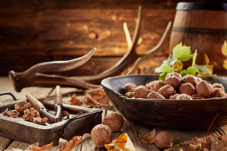 Pile of walnuts in shells and nut cracker in close-up on wooden table in rustic house with antler and old wooden barrel in background