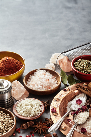 Spices with assorted natural cooking salts including black Hawaiian lava salt, Indus salt, Fleur de sel, Flor da Sal, Geurande salt, rock salt and sea salt on textured grey with vertical copy space Stock fotó