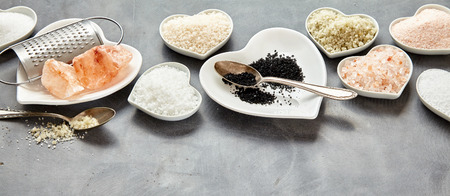 Display of assorted fresh natural culinary salt in a panorama banner with copy space including black Hawaiian lava salt, Indus, Fleur de sel, Flor da Sal, Geurande salt, rock salt and sea salt