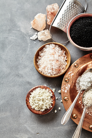 Border of assorted culinary rock and sea salts on grey with copy space withblack Hawaiian lava salt, Indus salt, Fleur de sel, Flor da Sal and French Geurande salt Stock fotó