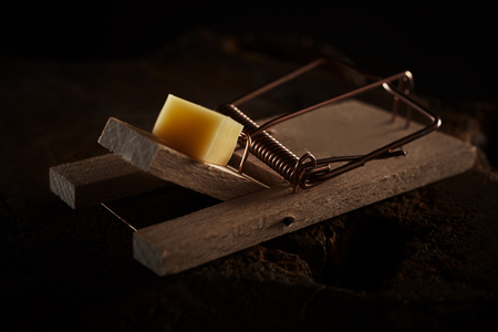 Close up of a wooden spring loaded mouse trap baited with cheese on a dark background in a concept of pest control Stock Photo