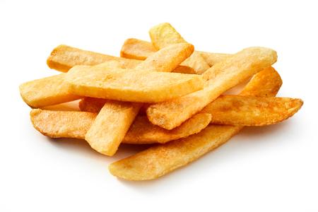 Depth sight of steak fried pommes frites or potato fries on isolated background Stock Photo