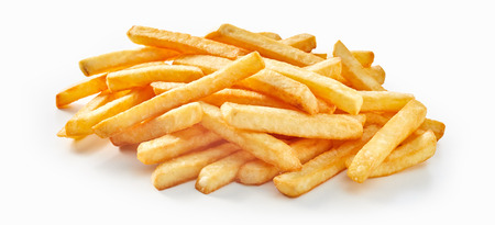 Bunch of fresh deep fried french fries on white background, as construction material for fast food concept.