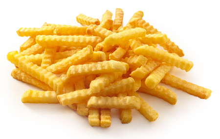 Deep fried French fries with ripple structure on white background