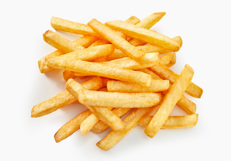 Long cut of french fries in flat lay view on white background. Stock Photo