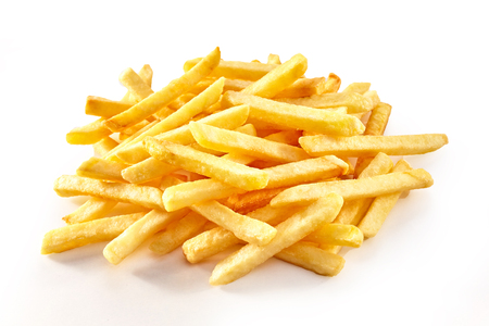 Small pile of french fries potatoes viewed in close-up, from high angle, isolated on white background
