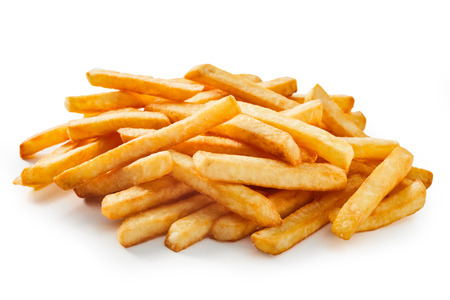 Long cut french fries, deep fried chips for construction material and fast food concepts.