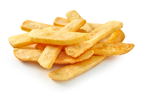 Pile of fast food chips on white background.