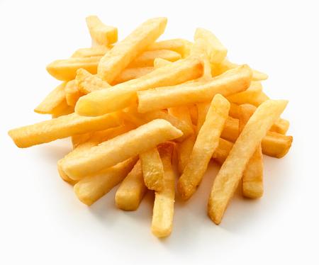 Healthy fresh golden crispy oven baked pommes frites or potato chips arranged on a white surface for menu advertising