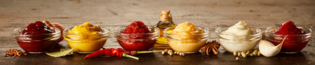 Rustic panorama banner with assorted small glass bowls of sauces and marinades together with spices and ingredients Stock Photo