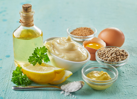 Recipe for gourmet homemade mayonnaise with assorted ingredients including mustard, egg, spices, oil and lemon