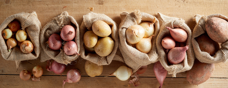 Top view of onion assortment and potatoes in sack bags in rustic farm harvest of organic vegetables concept banner Stock Photo