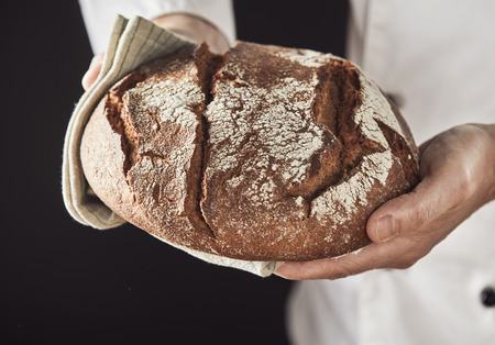 Close-up of baker hands holding freshly baked hot loaf of rye bread on rustic towel, standing in white uniform against black
