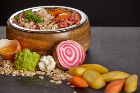Healthy barf food for dogs concept with mix of fresh vegetables and meat in wooden bowl, viewed in close-up