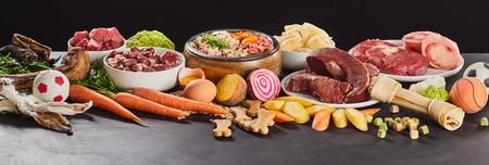 Pancarta panorámica con una variedad de alimentos frescos para preparar vómito crudo saludable para perros y gatos con verduras Foto de archivo
