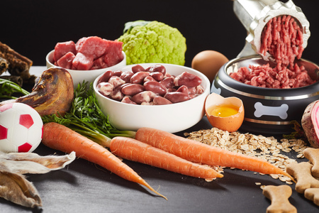 Preparing raw barf food for a pet dog or cat mincing offal Stockfoto