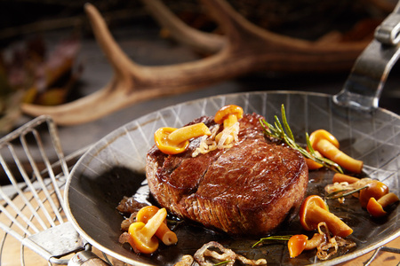 Gourmet thick marinated grilled wild venison steak with autumn mushrooms in a metal pan with blurred shed deer antler behind