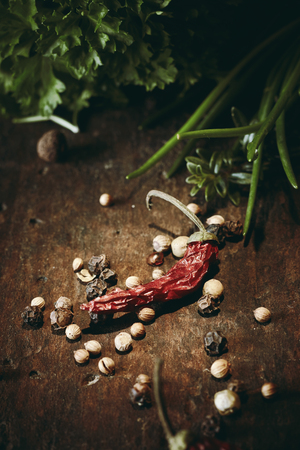 Selection of fresh aromatic herbs, dried chili pods, peppercorns and spices to be used as seasoning for cooking on rustic wood with vignette Stock Photo