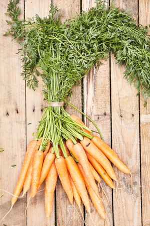 Bunch of clean washed fresh young organic farm carrots with leaves lying on a rustic wooden background in a concept of a healthy diet