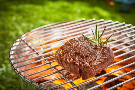 Succulent thick medallion of prime beef fillet steak grilling over the hot coals on a BBQ outdoors in a park or garden in close up view garnished with rosemary