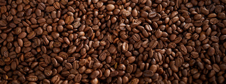 Full frame of roasted coffee beans