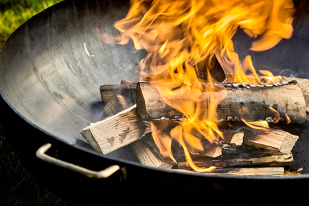 Pieces of wood on fire sitting in black metal barbecue with small green patch of grass in background corner Reklamní fotografie