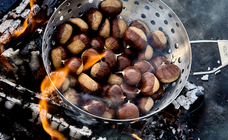 Roaster full of fresh whole sweet chestnuts in their shells roasting on the hot coals of a barbecue a fire in a close up high angle view Reklamní fotografie - 124857494