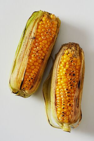 Two delicious barbecued corncobs, maize or mealies with their outer leaves fresh from a summer barbecue Reklamní fotografie