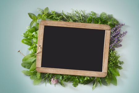 Small slate surrounded by an assortment of fresh herbs and edible flowers with copy space on light blue background