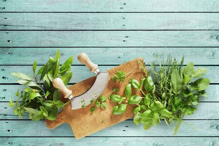 Mezzaluna knife with a variety of fresh potherbs for seasoning and garnishes on a wooden chopping board over green wood with copy space