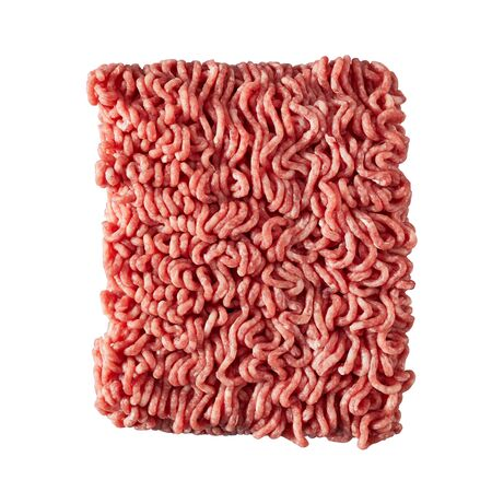 Slab of fresh ground or minced beef from the butchery showing the texture of the meat isolated on white