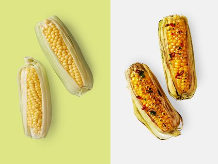 Two ears of fresh raw corn over light green backdrop next to burnt corn over plain light blue
