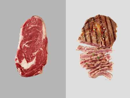 Chunk of uncooked beef over grey backdrop next to cooked beef with several slices cut out over light grey backdrop