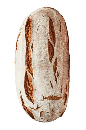 Healthy whole crusty loaf of rye bread viewed top down on the crust isolated on white