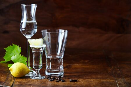 Different glasses and shots of grappa beverage on dark brown lacquered bar counter, served with lemon and decorated with green grape leaf and coffee beans. Side view with copy space