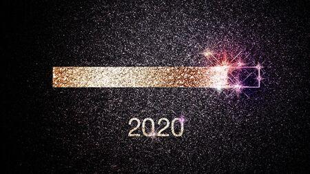 Barra di avanzamento del capodanno 2020 con luci scintillanti festive e stelle su sfondo notturno scuro Archivio Fotografico