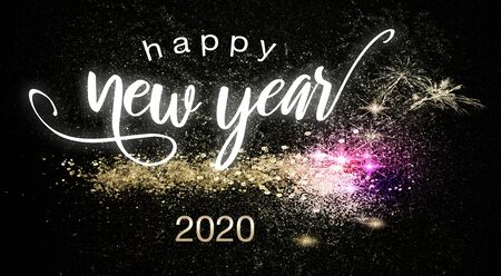 Happy New Year 2020 postcard or poster theme with sparkling colorful fireworks on black background with festive sign