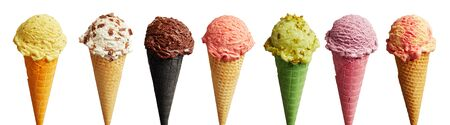 Banner with a set of ice-cream with different tastes in various colorful cones, arranged in a row and isolated on white background 版權商用圖片