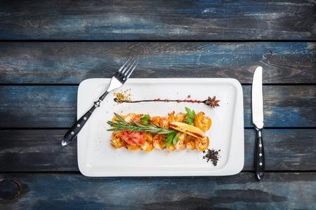 Grilled Tiger prawns in spicy sauce glaze Stok Fotoğraf