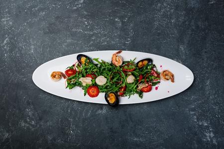 Seafood salad with lime sauce.